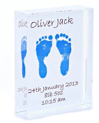 Crystal Block featuring Child's Foot Prints - Blue