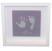 Framed Baby Hand or Foot Prints Glass Tile - Grey