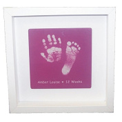 Framed Baby Hand or Foot Prints Glass Tile - Pink