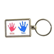 Hand or Foot Print Keyring with Different Prints on Reverse - White Background with Blue & Pink Prints