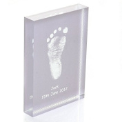 Baby Hand or Foot Prints Fused on to a Rectangle Crystal Block - Grey