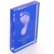 Baby Hand or Foot Prints Fused on to a Rectangle Crystal Block - Blue