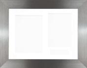 BabyRice 29cm x 22cm Brushed Pewter 3D Display Frame / White 3 hole mount & Backing