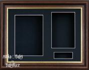BabyRice 29cm x 22cm Mahogany effect/Gold trim 3D Display Frame / Black 3 hole mount & Backing