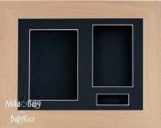 BabyRice 29cm x 22cm Beech Wood Wooden 3D Display Frame / Black 3 hole mount & Backing