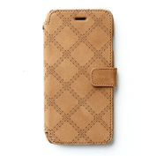Zenus Vintage Quilt Diary Genuine Nubuck Leather Cover Case [Vintage Brown] for Apple iPhone 6