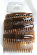 4 x Brown/Tort Plastic Hair comb slide bridal accessory
