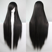Womens/Ladies 100cm black Colour Long STRAIGHT Cosplay/Costume/Anime/Party/Bangs Full Sexy Wig