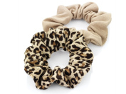 2 x Brown Tone Jersey Hair Scrunchies/ Elastics/ Bobbles - Plain & Animal Print