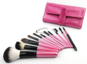 NEW professional 11 pieces hot pink makeup brush set with pink case