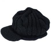 eFuture(TM) Unisex Black Warm Slouchy Cabled Knit Beanie Newsboy Hat Peaked Cap + Keyring