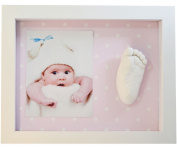 KIT CASTING FOOTPRINT 3D BABY WITH FRAME -BACK SPOTS PINK
