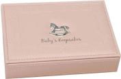 Pink Faux Leather Baby Keepsake Box