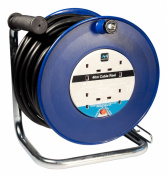 Masterplug HDCC4013/4BL 40m 4 Socket 13 Amp Open Cable Reel with Thermal Cut Out and Reset Button