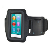Fitness Black Sports Armband for iPod Nano 7th Gen (7G) - High Quality-ideal for Gym/ Jogging/Running/Ridding/Walking