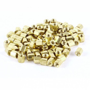 100 Pcs M3x5 M3 Female Thread Brass Standoff Spacer 5mm High Gold Tone