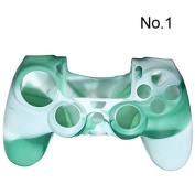 TOOGOO(R) Camouflage Protective Silicone Case Skin Cover For Ps4 Controller Camo Mod HOT - White and green