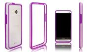 Xcessor Rubber and Plastic Classic Bumper Case for HTC One - Purple/Transparent