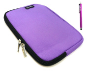 Emartbuy® Purple Stylus + Purple Water Resistant Neoprene Soft Zip Case Cover Sleeve Pouch suitable for Apple Ipad Mini , Ipad Mini 2 & Ipad Mini 3 Tablet