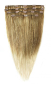 American Dream Human Hair Full Head Set of Clip in Extensions, Ombre Medium Ash Brown/ Beach Blonde Number 1022 105 g/ 18-inch/ 46 cm - 4 Piece