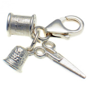 Welded Bliss Sterling 925 Silver Three Part Sewing Seamstress Clip On Charm, Bobbin, Scissors, Thimble. WBC1107