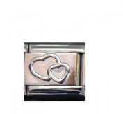 DOUBLE HEARTS silver coloured charm - 9mm Italian charm will fit Nomination classic bracelet
