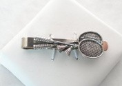 Badminton Lovers Tie Clip (slide), Fine English Pewter
