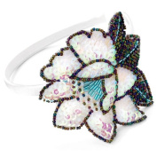 Acosta - Shimmering AB Sequin & Bead - Large White Flower Motif Headband / Hair Accessory