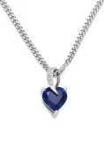 Miore Ladies 925 Sterling Silver Sapphire Blue and Diamonds Heart Pendant on 45cm Chain