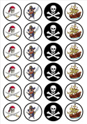 Pirate Edible Wafer Rice Paper 24 x 4.5cm Cupcake Toppers/Decorations
