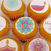 Diwali Cupcake Toppers - Festival of Light Cake Decorations - 4cm x 24 - Edible Wafer or Icing