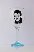 Elvis Hand Painted Wine Glass Gift UK, Icon Glass, Elvis Present Idea UK