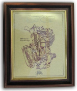 BSA Early Gold Star 500cc Gold Leaf Limited Edition Engine Drawing