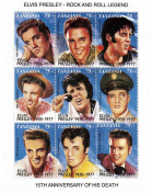 Elvis Presley in 9 movie poses - Mint and never mounted stamp sheet