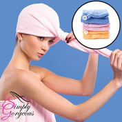Simply Gorgeous Microfiber Towel Hair Wrap With Loop & Button - Set Of 3 BLUE PINK AND YELLOW