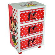 MINNIE MOUSE BEDROOM 3 DRAWER CHEST CABINET STORAGE KIDS WOODEN UNIT BOX NEW