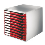 Leitz Form Set Filing Unit with 10 Drawers A4 W291x352x291mm Red and Grey Ref 5281-25