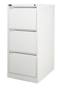 3 Drawer White Steel Filing Cabinet 62D x 47W x 101.5H