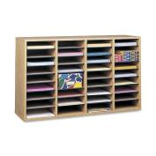 Safco Medium Oak Wood Adjustable Literature Organiser with 36 Compartment