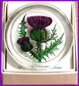 Decorative Hand Painted Stained Glass Paperweight in a Scottish Thistle Design.