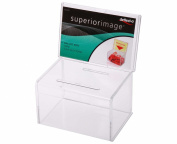 Deflect-o Classicimage Suggestion/Coin Box with 152x102mm Sign Holder - Transparent