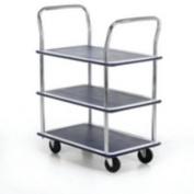 Barton Trolley Steel Frame Non-marking Wheels Capacity 120kg 3- Shelf Chrome Finish Ref PST3