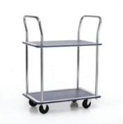 Barton Trolley Steel Frame Non-marking Wheels Capacity 120kg 2- Shelf Chrome Finish Ref PST2