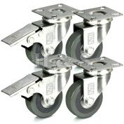 H & S® 4 x Heavy Duty 50mm Rubber Swivel Castor Wheels Trolley Furniture Caster Brake