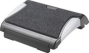 Q-Connect Foot Rest with Carpet - Black/silver