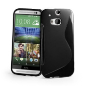 Htc One M8 (Black) Soft Tpu Jelly Rubber Gel Skin Case Cover Plus Screen Protector & Cleaning Cloth