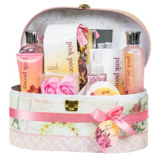 Pink Peony Spa Bath Gift Set in Mirrored Jewellery Box