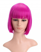 LOUISE MAELYS Ladies Candy Colour Straight Flat Bang Short Bob Hair Cosplay Wigs