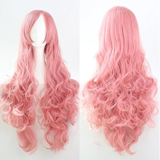Womens/Ladies 80cm Pink Colour Long CURLY Cosplay/Costume/Anime/Party/Bangs Full Sexy Wig