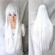 Womens/Ladies 80cm Pure White Colour Long STRAIGHT Cosplay/Costume/Anime/Party/Bangs Full Sexy Wig